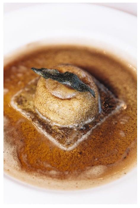 Osteria Mozza ricotta and egg raviolo