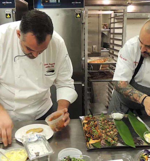 Chef Gianbattista Vinzoni making the 2017 golden globes dinner