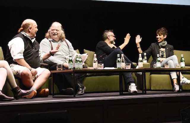 Massimo Bottura and the other guests discussing food waste