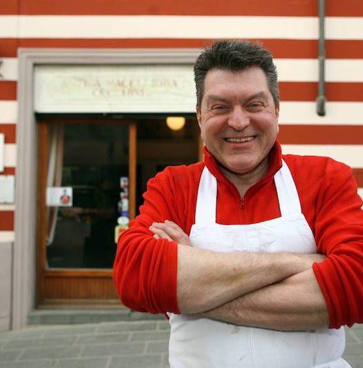 dario cecchini at his butcher's store in Panzano