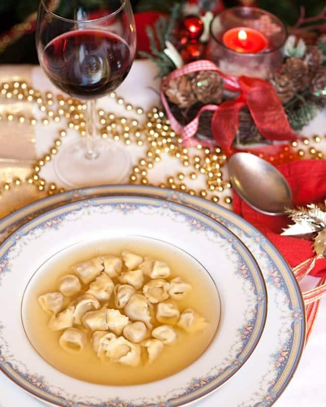 italian christmas recipes cappelletti and glass of wine - Traditional Italian Christmas Eve Dinner Menu