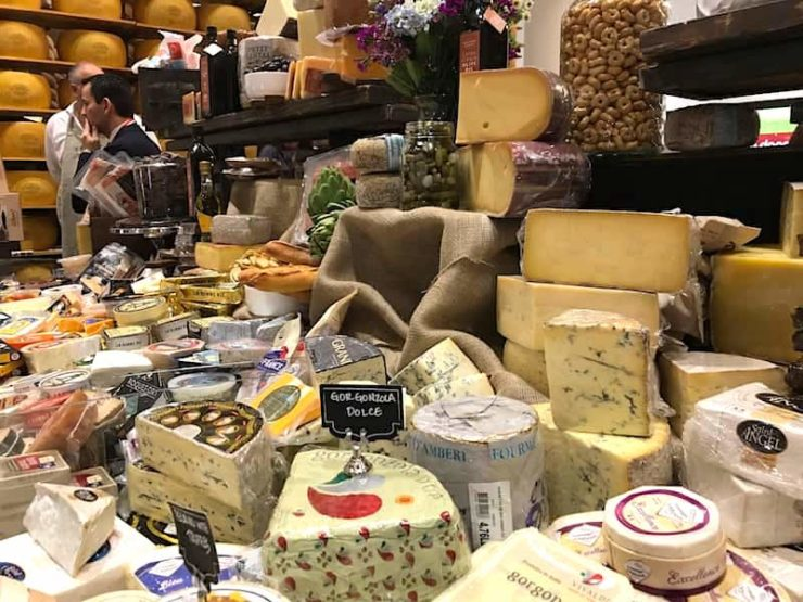 italian cheeses in display for the 2018 Winter Fancy Food Show
