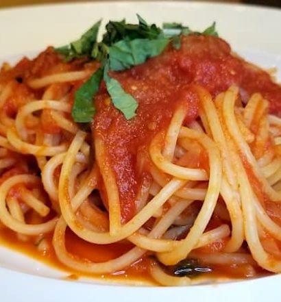 Spaghetti with tomato sauce at Casa Barilla Costa Mesa