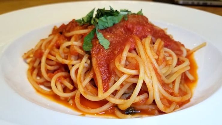 Spaghetti with tomato sauce at Casa Barilla Costa Mesa